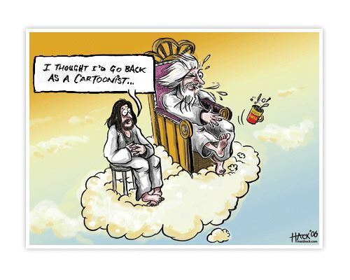 Cartoon - God and the Cartoonists ©_Matthew_Buck_Hack_cartoons