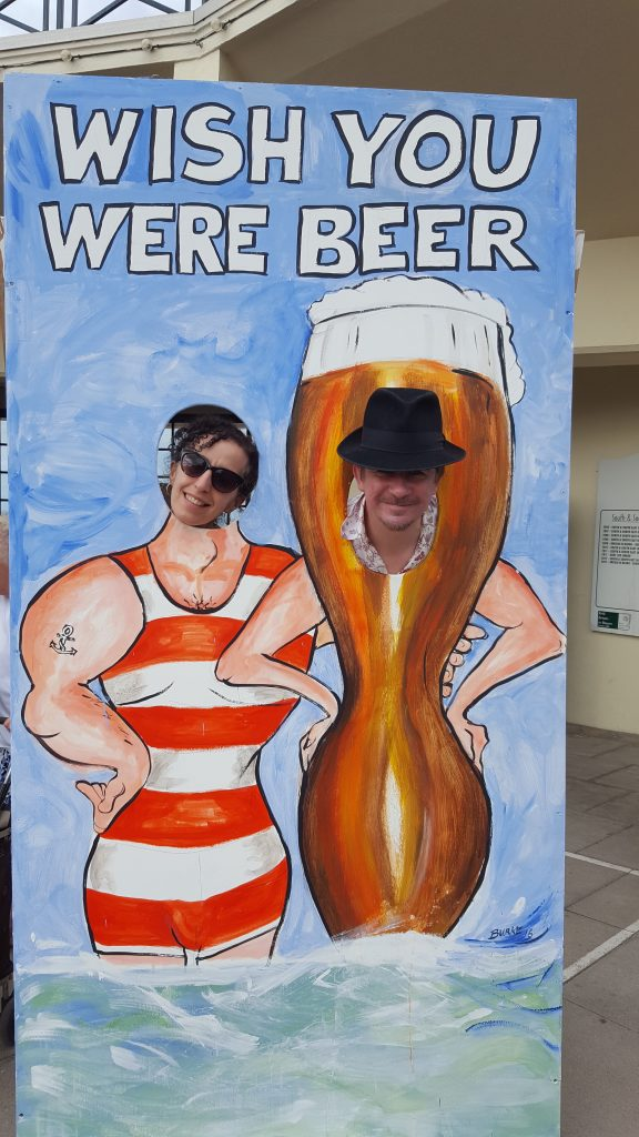 Wish you were beer - cartoonists The Surreal McCoya nd Hack cartoons at Herne Bay Cartoon festival 2016 © Matthew Buck Hack Cartoons